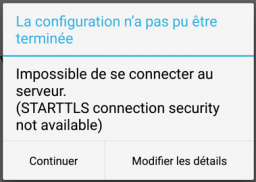 3) msg suite à tentative de modif config K9Mail
